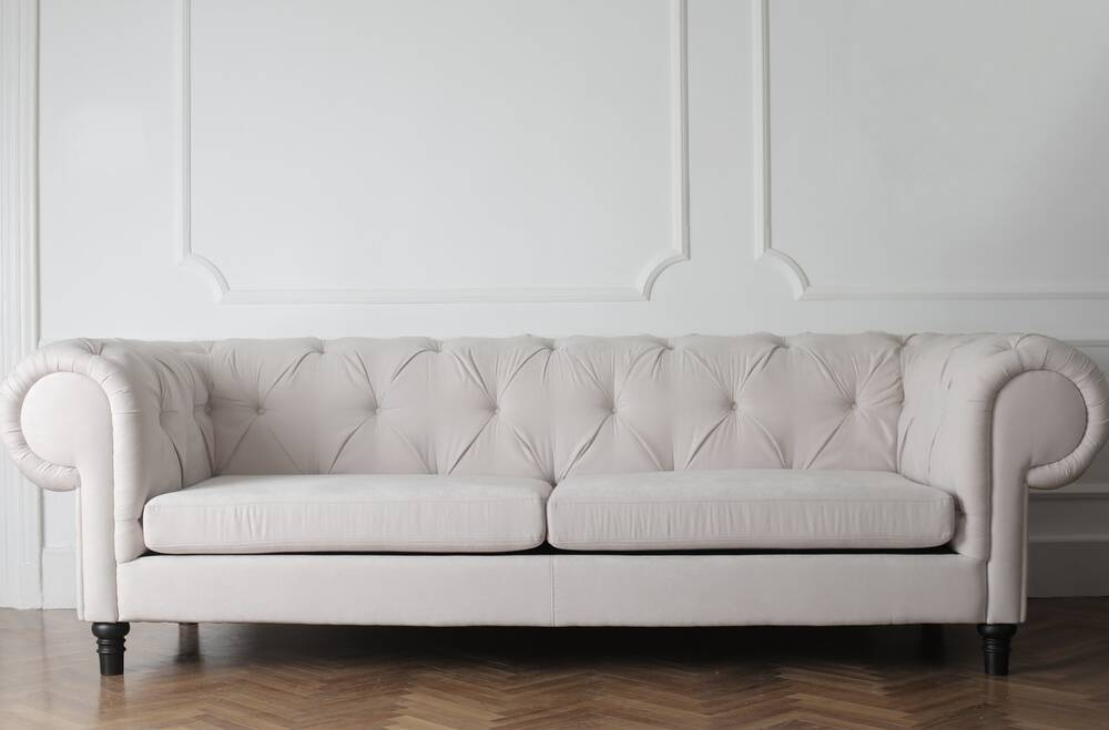 A couch in a living room